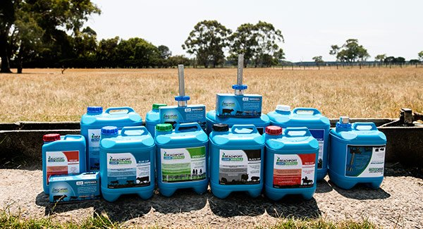 Beachport Liquid Minerals product range in paddock